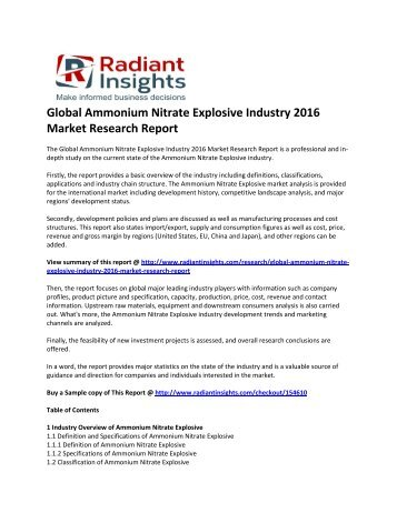 Ammonium Nitrate Explosive Market Survey & Market Size Up To 2016: Radiant Insights, Inc