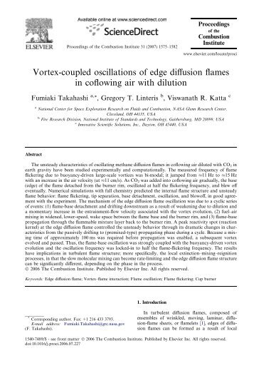Vortex-coupled oscillations of edge diffusion flames in ... - NIST