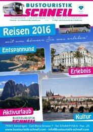 Bustouristik Schnell Reisekatalog 2016
