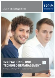 GGS-Broschüre M.Sc. in Management – Innovations- und Technologiemanagement
