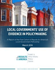 LOCAL GOVERNMENTS' USE OF EVIDENCE IN POLICYMAKING