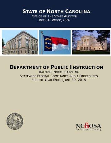 STATE NORTH CAROLINA DEPARTMENT PUBLIC INSTRUCTION
