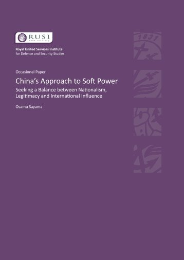 China's Approach to Soft Power