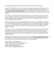 J & G Transmissions In Salt Lake City, UT Provides Transmission Solutions For Locals