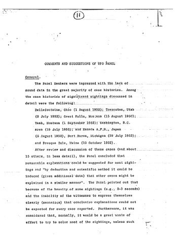 Documents from panel on UFOs