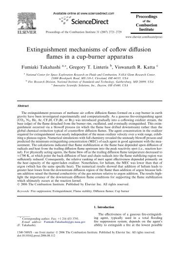 Extinguishment mechanisms of coflow diffusion flames in a cup - NIST