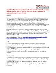 Brintellix (Major Depressive Disorder) Market Opportunity To 2023