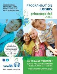 PROGRAMMATION LOISIRS printemps-été 2016
