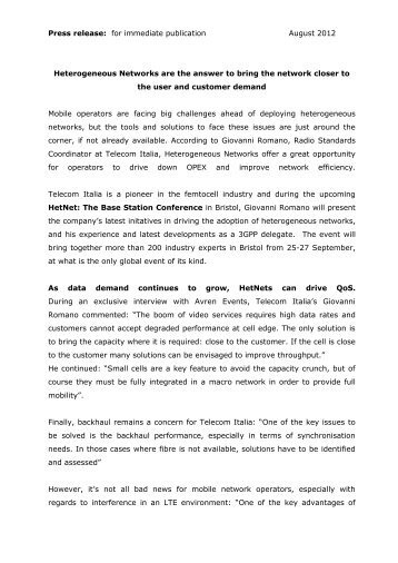 Press release: for immediate publication August 2012 - InfoCom