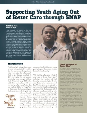 Supporting Youth Aging Out of Foster Care through SNAP