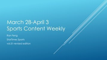 March 28-April 3 Sports Content Weekly
