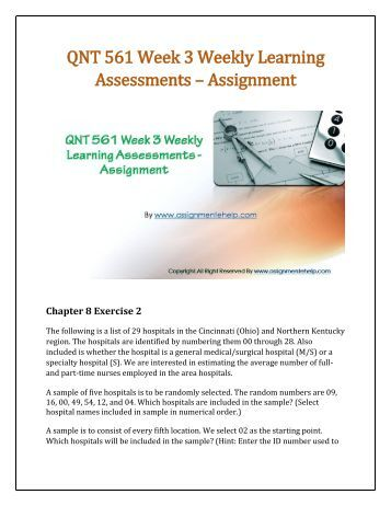 QNT 275 Week 5 Team Assignment Business Decision Making Project, Final