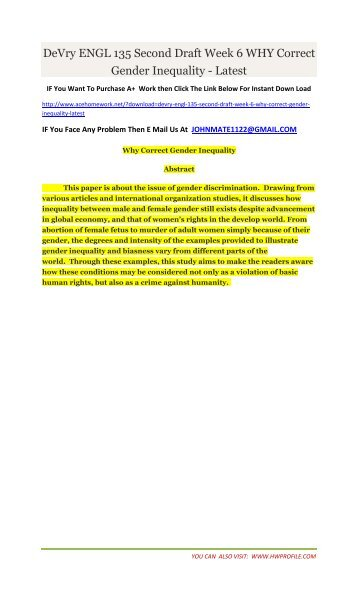 DeVry ENGL 135 Second Draft Week 6 WHY Correct Gender Inequality - Latest