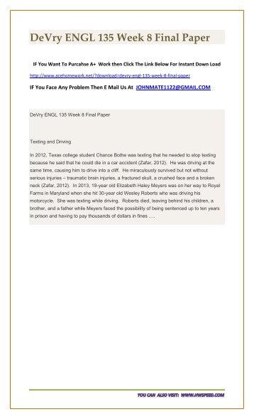 DeVry ENGL 135 Week 8 Final Paper