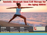 Amniotic Allograph Stem Cell Therapy for the Aging Athlete