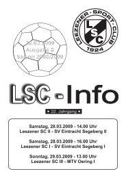 SV Eintracht Segeberg II Samstag, 28.03.2009 - Leezener SC