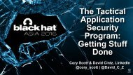 The Tactical Application Security Program Getting Stuff Done