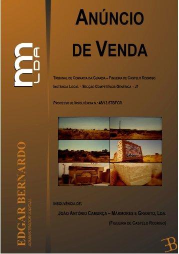 ANÚNCIO DE VENDA (Bens Imóveis e Bens Móveis): PROCESSO DE INSOLVÊNCIA N.º 48/13.5TBFCR