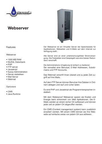 Webserver - Waterproof digital media design GmbH