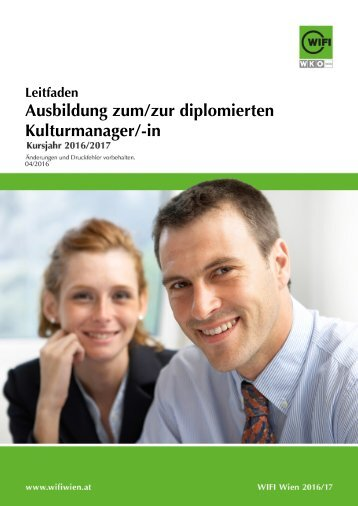 Leitfaden: Ausbildung zum/zur diplomierten Kulturmanager/-in