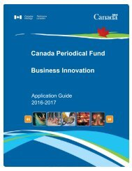 Canada Periodical Fund Business Innovation