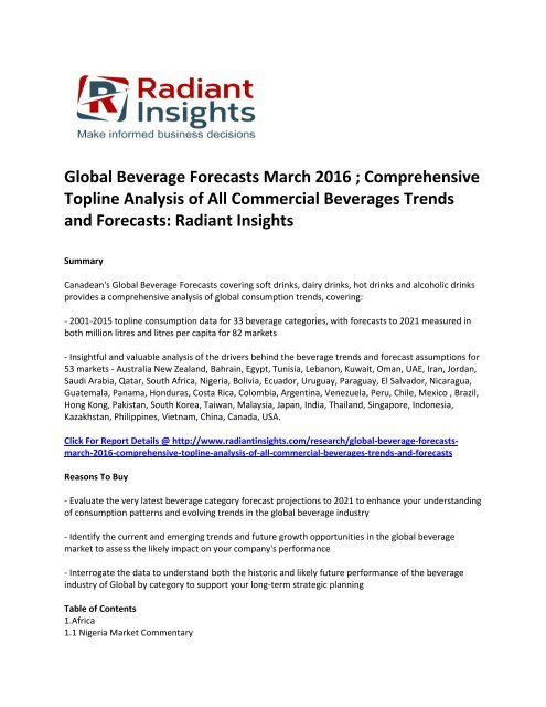 Global Beverage Market Growth Report Up To 2016: Radiant