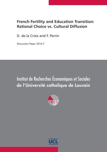 French Fertility and Education Transition Rational Choice vs Cultural Diffusion