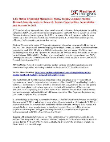LTE Mobile Broadband Market Growth, Competitive Strategies And Forecasts To 2021