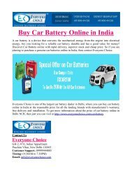 Buy Car Battery Online in India