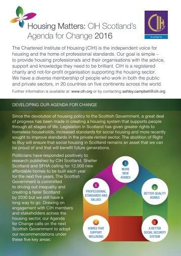 Housing Matters CIH Scotland's Agenda for Change 2016