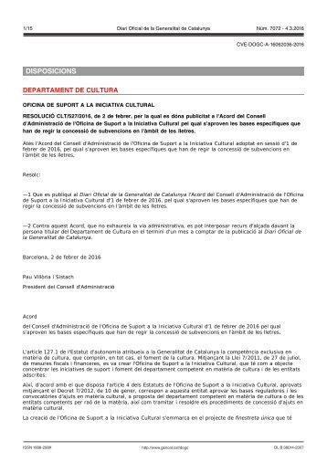 DISPOSICIONS DEPARTAMENT DE CULTURA