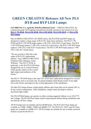 GREEN CREATIVE Releases All New PLS HYB and BYP LED Lamps