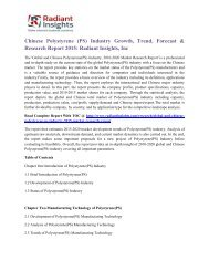Chinese Polystyrene(PS) Industry Growth, Trend, Forecast & Research Report 2015 Radiant Insights, Inc