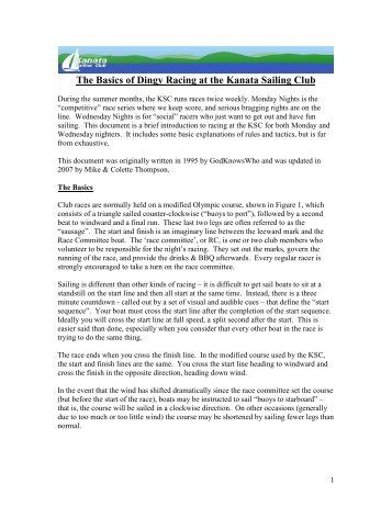 The Basics of Dingy Racing at the Kanata Sailing Club