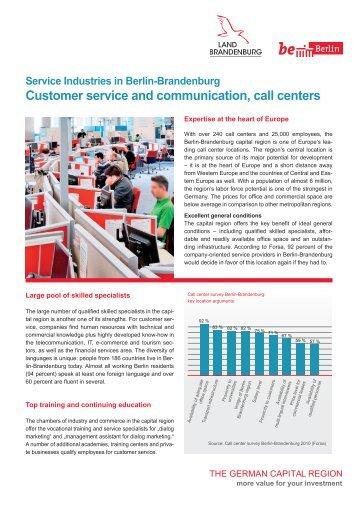 Service Industries in Berlin-Brandenburg: Call Centers