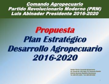 Plan Estratégico Desarrollo Agropecuario 2016-2020
