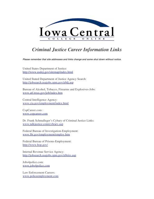 Criminal Justice Career Information Links - Iowa Central College
