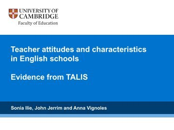 in English schools Evidence from TALIS