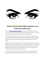 Andover MA Hair Salon Offers RevitaLash and ReGenesis product lines