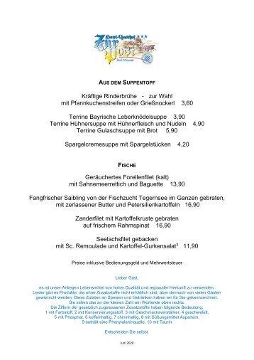 Speisekarte Hotel zur Post Badwiessee - DE