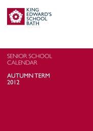AUTUMN TERM 2012 - King Edward's School