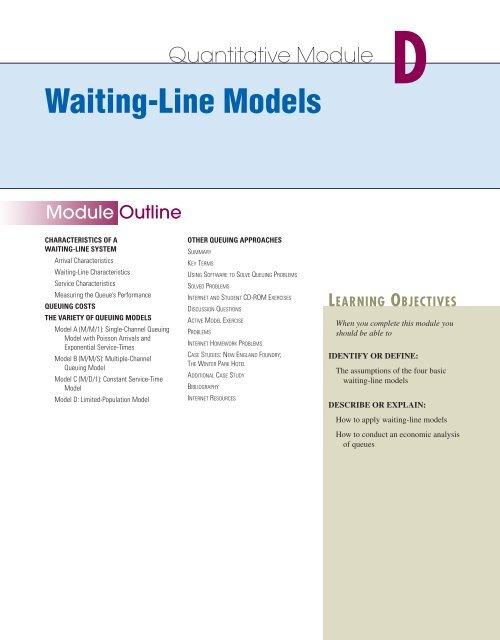 D Waiting Line Models Prentice Hall