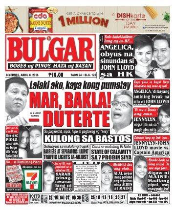 April 8, 2016 BULGAR: BOSES NG PINOY, MATA NG BAYAN