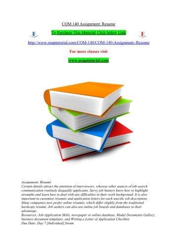 COM 140 Assignment Resume