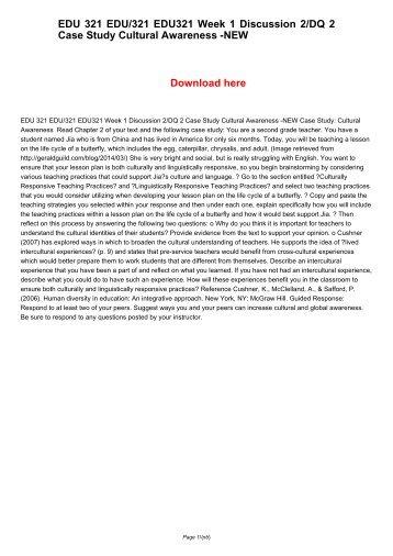 EDU 321 EDU321 EDU/321 Week 1 Discussion 2/DQ 2 Case Study Cultural Awareness -NEW