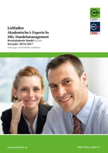 Leitfaden: Akademische/r Experte/-in, MSc Handelsmanagement