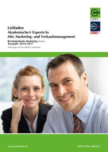 Leitfaden: Akademische/r Experte/-in, MSc Marketing- und Verkaufsmanagement