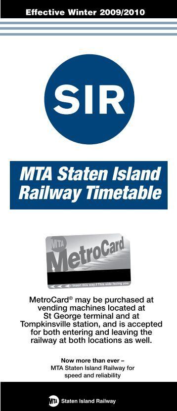 SIR MTA Staten Island Railway Timetable - MTA.info