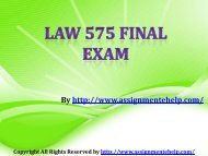 LAW 575 Final Exam (Latest) - Assignment