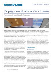 Tapping potential in Europe's card market - Arthur D. Little